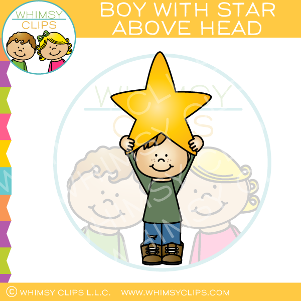 Boy Holding Star Above Head Clip Art