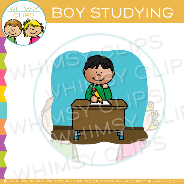 Boy Studying Clip Art