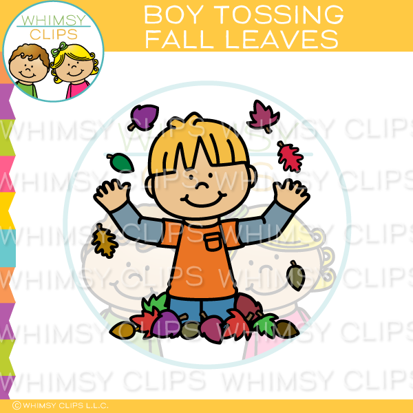 Boy Tossing Fall Leaves Clip Art