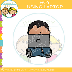Boy Using Laptop Clip Art