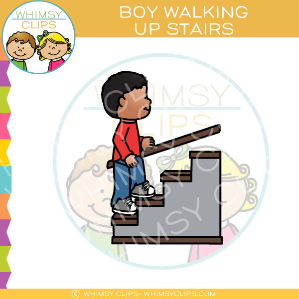 Boy Walking Up Flight of Stairs Clip Art