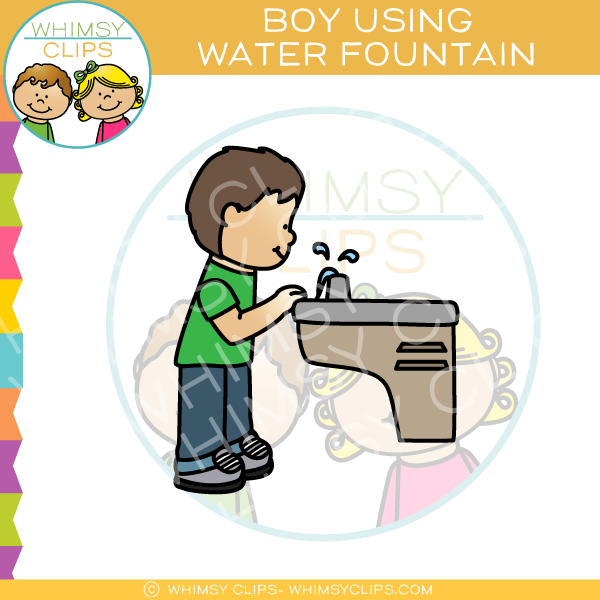 Boy Drinking from Water Fountain Clip Art