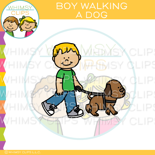 Boy Walking A Dog Clip Art
