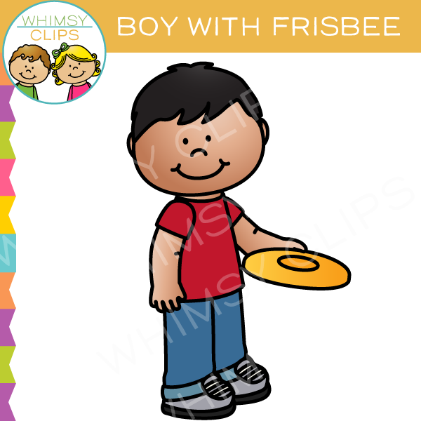 Boy with a Frisbee Clip Art
