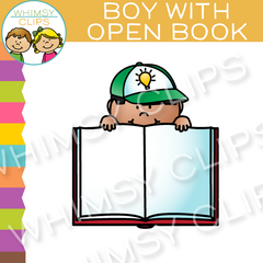 Free Boy with an Open Book Clip Art