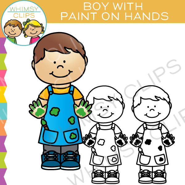 Boy with Paint on Hands Clip Art