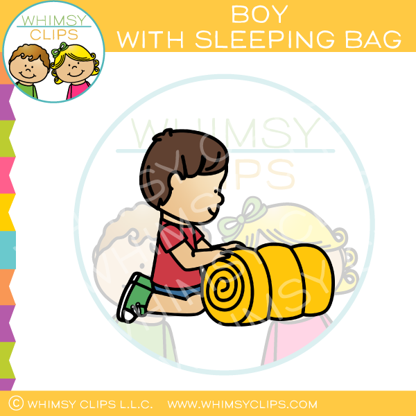 Boy With Sleeping Bag Clip Art