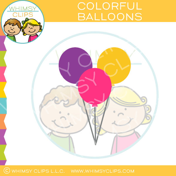 Bright Cheerful Balloons Clip Art