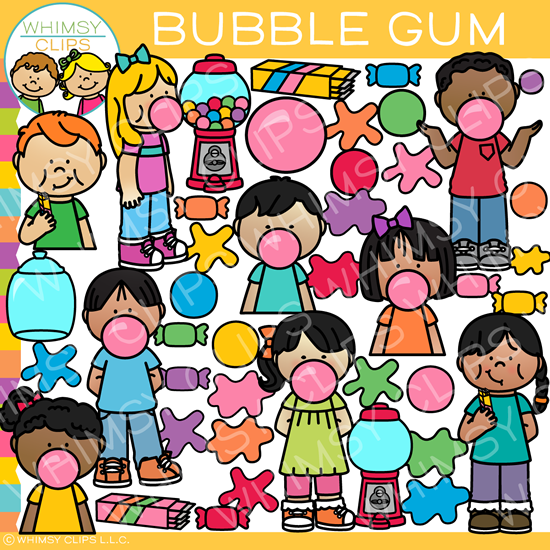 Kids and Bubble Gum Clip Art