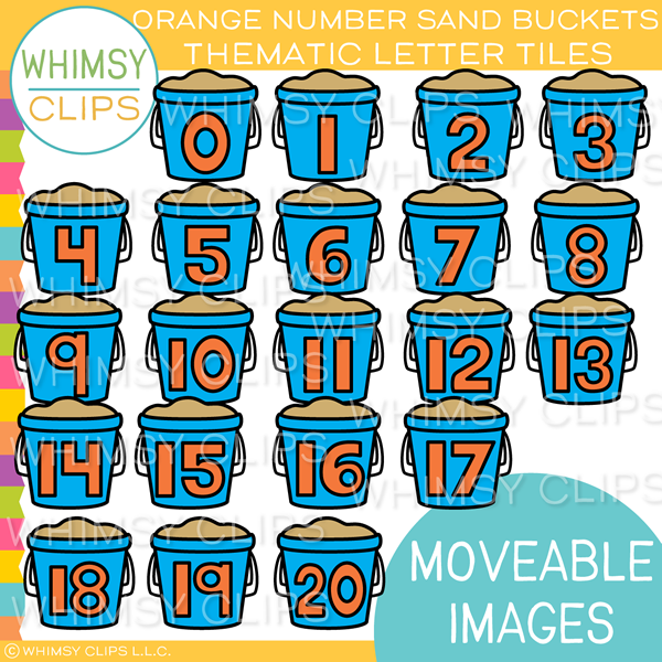 Thematic Orange Number Sand Bucket Tiles Clip Art - MOVEABLE Clip Art