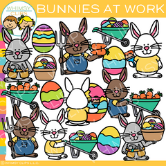 Bunnies at Work Clip Art