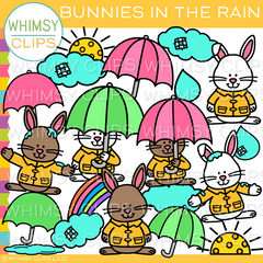 Bunnies in the Rain Clip Art