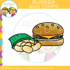 Cheeseburger and Chips Clip Art