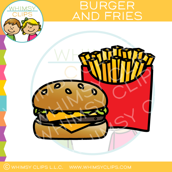 Cheeseburger and Fries Clip Art