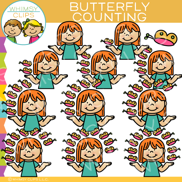 Kids Butterfly Counting Clip Art