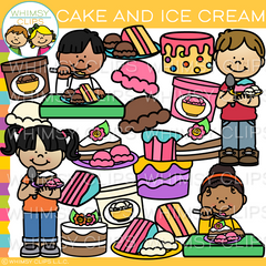 Kids Eating Cake and Ice Cream Clip Art
