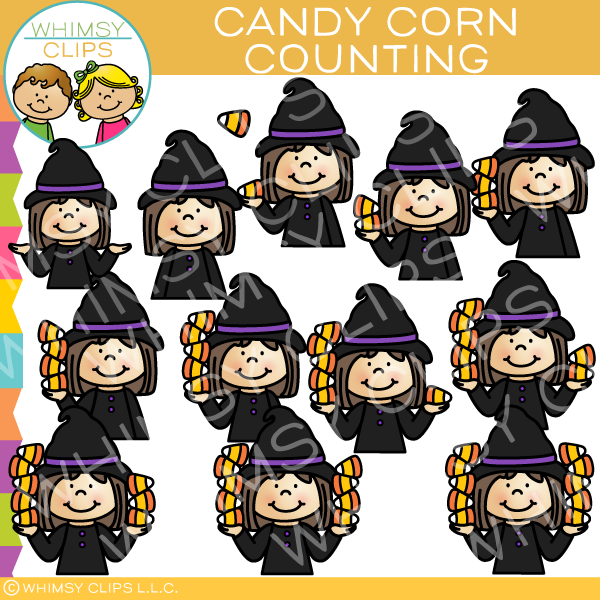 Witch Kids Candy Corn Counting Clip Art