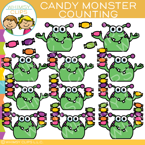 Monsters Counting Candy Clip Art