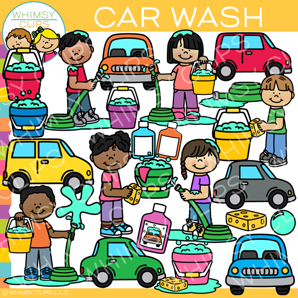 Kids Washing Cars Clip Art