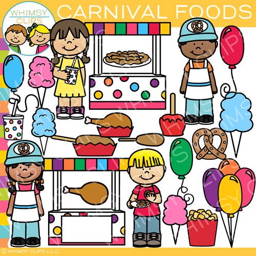 Kids and Carnival Foods Clip Art