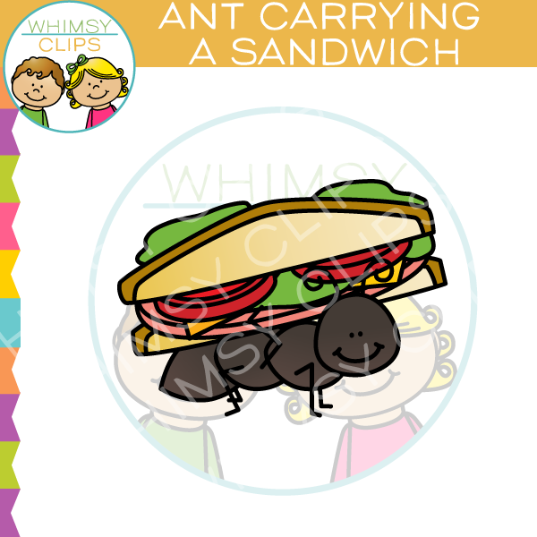 Ant Carrying A Sandwich Clip Art