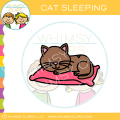 Cat Sleeping On A Pillow Clip Art