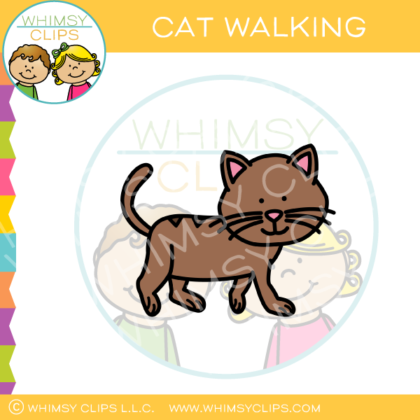 Cute Cat Walking Clip Art