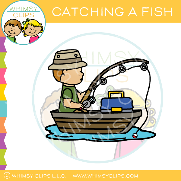 Catching a Fish Clip Art