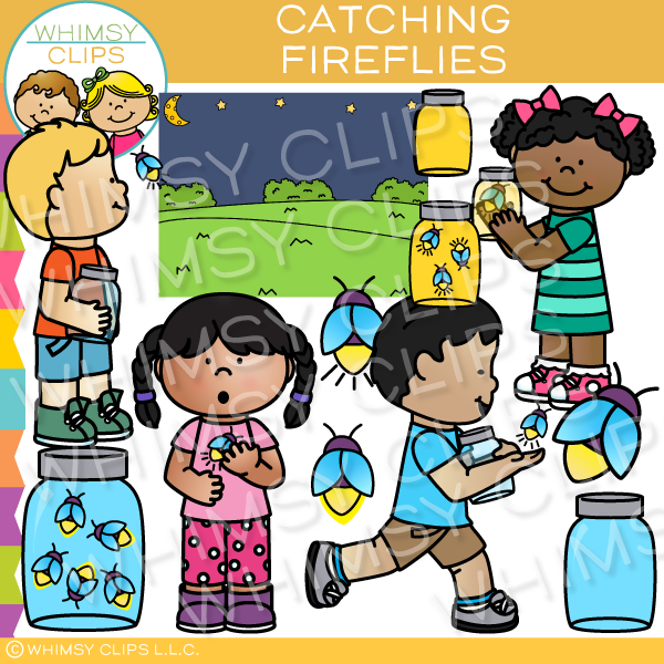 Kids Catching Fireflies Clip Art