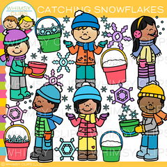 Catching Snowflakes Clip Art
