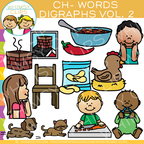 Beginning Ch-Words  Clip Art - Digraphs Volume Two