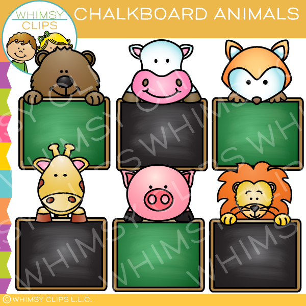 Adorable Chalkboard Animals Clip Art