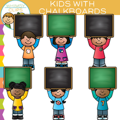 Kids with Chalkboards Clip Art