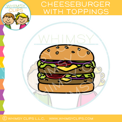 Cheeseburger With Toppings Clip Art