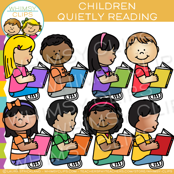 Children Quietly Reading to Self Clip Art