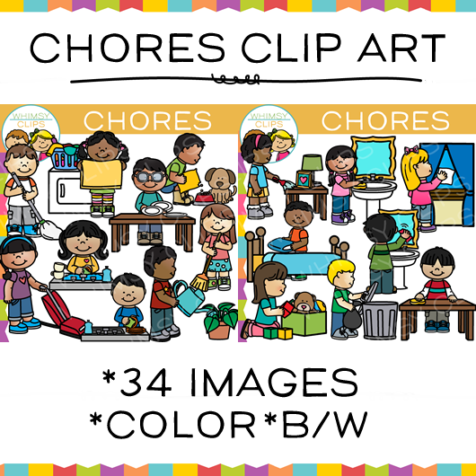 Kids Chores Clip Art , Images & Illustrations   Whimsy Clips