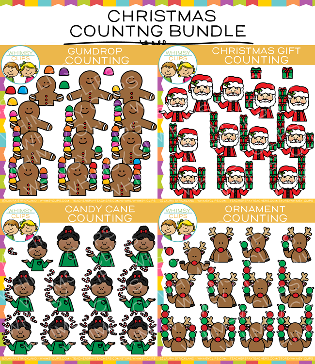 Christmas Counting Clip Art Bundle