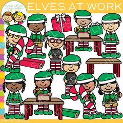 Elves at Work Clip Art