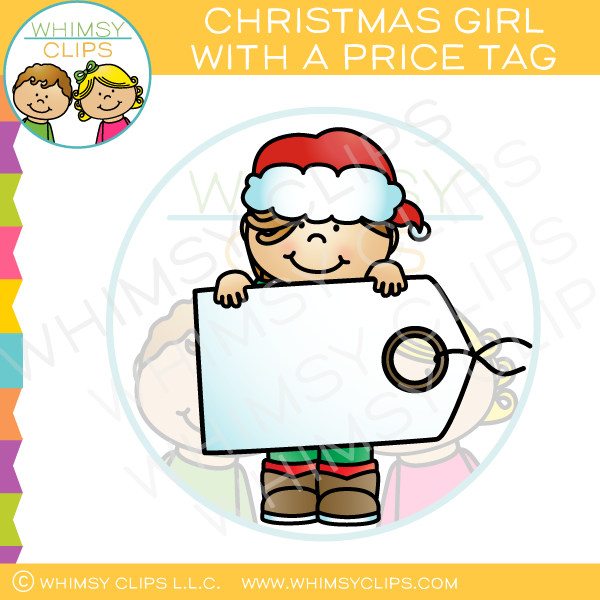Christmas Girl with a Price Tag Clip Art