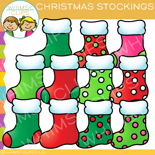 Bright Christmas Stocking Clip Art