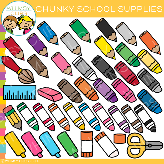 Chunky School Supplies Clip Art