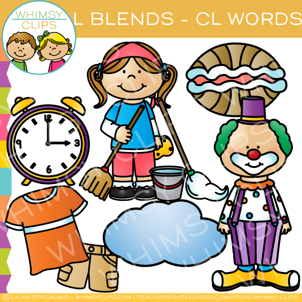 L Blends Clip Art - CL Words - Volume One
