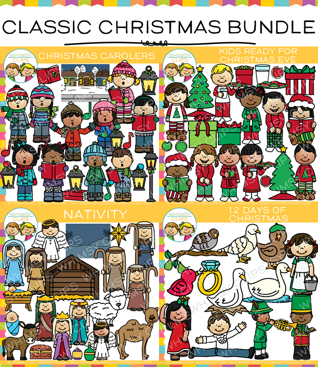 Classic Christmas Clip Art Bundle , Images & Illustrations | Whimsy ...