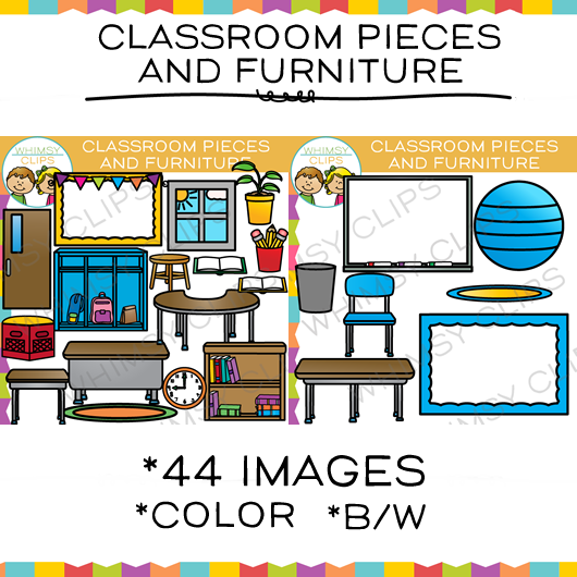 Classroom Pieces and Furniture Clip Art