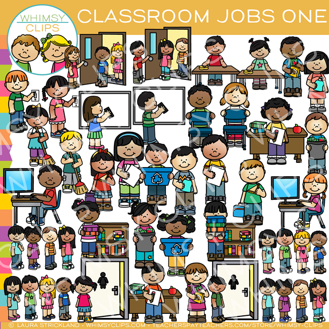 classroom jobs clip art set one images illustrations whimsy rh whimsyclips com classroom jobs clipart preschool classroom jobs clipart