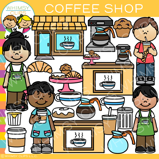 Kids at the Coffee Shop Clip Art