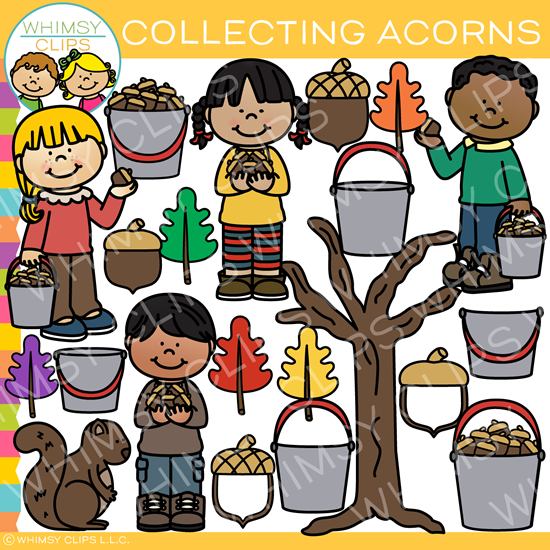 Kids Collecting Acorns Clip Art