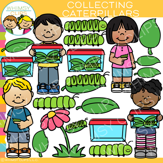 Kids with Caterpillars Clip Art