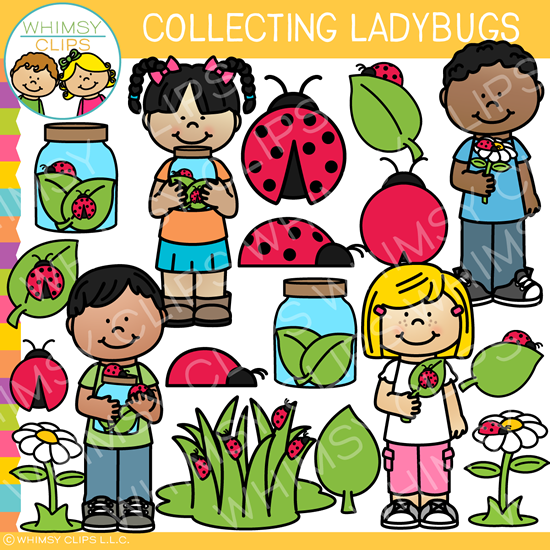 Collecting Ladybugs Clip Art