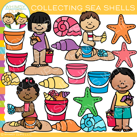Kids Collecting Seashells Clip Art